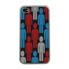 Human Man People Red Blue Grey Black Apple Iphone 4 Case (clear) by Mariart