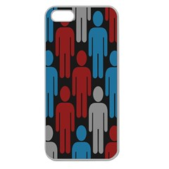 Human Man People Red Blue Grey Black Apple Seamless Iphone 5 Case (clear) by Mariart