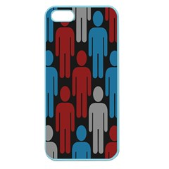 Human Man People Red Blue Grey Black Apple Seamless Iphone 5 Case (color) by Mariart