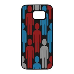 Human Man People Red Blue Grey Black Samsung Galaxy S7 Edge Black Seamless Case by Mariart