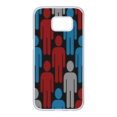 Human Man People Red Blue Grey Black Samsung Galaxy S7 Edge White Seamless Case by Mariart