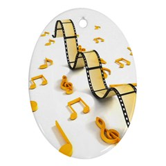Isolated Three Dimensional Negative Roll Musical Notes Movie Oval Ornament (two Sides) by Mariart