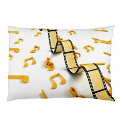 Isolated Three Dimensional Negative Roll Musical Notes Movie Pillow Case by Mariart