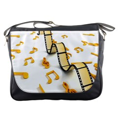 Isolated Three Dimensional Negative Roll Musical Notes Movie Messenger Bags by Mariart