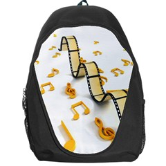 Isolated Three Dimensional Negative Roll Musical Notes Movie Backpack Bag by Mariart
