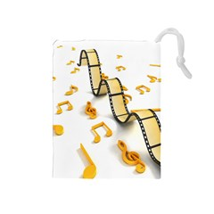 Isolated Three Dimensional Negative Roll Musical Notes Movie Drawstring Pouches (medium)  by Mariart