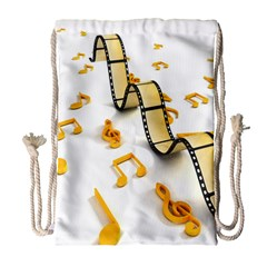 Isolated Three Dimensional Negative Roll Musical Notes Movie Drawstring Bag (large) by Mariart