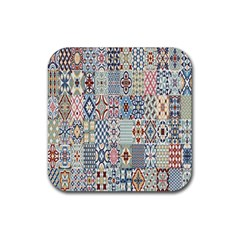 Deco Heritage Mix Rubber Square Coaster (4 Pack)  by Mariart