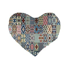 Deco Heritage Mix Standard 16  Premium Flano Heart Shape Cushions by Mariart