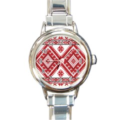 Fabric Aztec Round Italian Charm Watch by Mariart