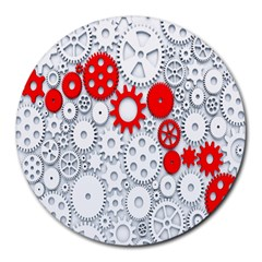 Iron Chain White Red Round Mousepads by Mariart