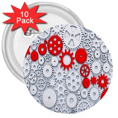 Iron Chain White Red 3  Buttons (10 Pack)  by Mariart