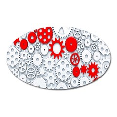 Iron Chain White Red Oval Magnet by Mariart