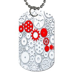 Iron Chain White Red Dog Tag (one Side) by Mariart
