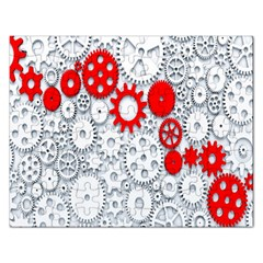 Iron Chain White Red Rectangular Jigsaw Puzzl by Mariart
