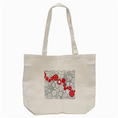 Iron Chain White Red Tote Bag (cream) by Mariart