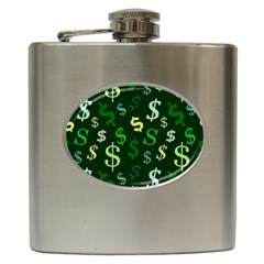 Money Us Dollar Green Hip Flask (6 Oz) by Mariart