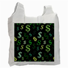 Money Us Dollar Green Recycle Bag (one Side) by Mariart