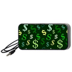 Money Us Dollar Green Portable Speaker (black) by Mariart
