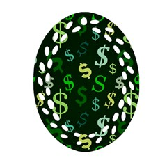 Money Us Dollar Green Ornament (oval Filigree) by Mariart