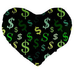 Money Us Dollar Green Large 19  Premium Heart Shape Cushions by Mariart