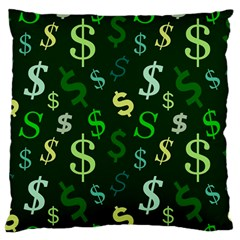 Money Us Dollar Green Large Flano Cushion Case (two Sides) by Mariart