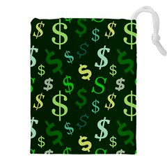 Money Us Dollar Green Drawstring Pouches (xxl) by Mariart