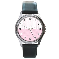 Love Polka Dot White Pink Line Round Metal Watch by Mariart