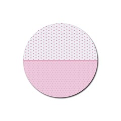 Love Polka Dot White Pink Line Rubber Round Coaster (4 Pack)  by Mariart