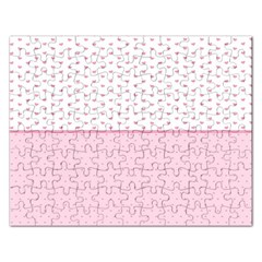 Love Polka Dot White Pink Line Rectangular Jigsaw Puzzl by Mariart
