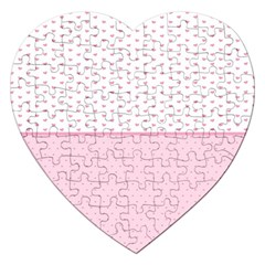 Love Polka Dot White Pink Line Jigsaw Puzzle (heart) by Mariart