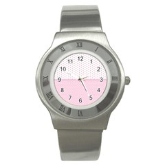 Love Polka Dot White Pink Line Stainless Steel Watch by Mariart