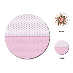 Love Polka Dot White Pink Line Playing Cards (round)  by Mariart