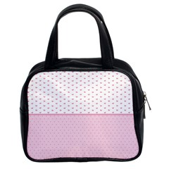 Love Polka Dot White Pink Line Classic Handbags (2 Sides) by Mariart
