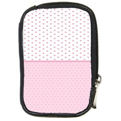 Love Polka Dot White Pink Line Compact Camera Cases by Mariart