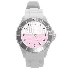 Love Polka Dot White Pink Line Round Plastic Sport Watch (l) by Mariart