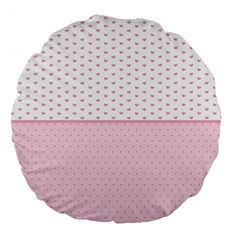 Love Polka Dot White Pink Line Large 18  Premium Round Cushions by Mariart