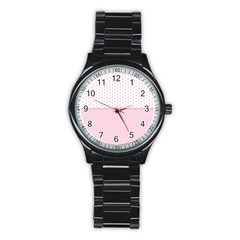 Love Polka Dot White Pink Line Stainless Steel Round Watch by Mariart