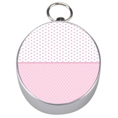 Love Polka Dot White Pink Line Silver Compasses by Mariart