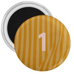Number 1 Line Vertical Yellow Pink Orange Wave Chevron 3  Magnets by Mariart