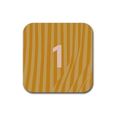 Number 1 Line Vertical Yellow Pink Orange Wave Chevron Rubber Square Coaster (4 Pack)  by Mariart
