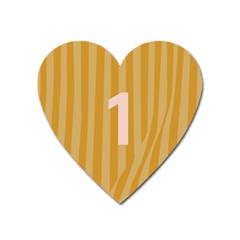 Number 1 Line Vertical Yellow Pink Orange Wave Chevron Heart Magnet by Mariart