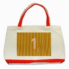 Number 1 Line Vertical Yellow Pink Orange Wave Chevron Classic Tote Bag (red) by Mariart