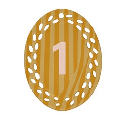 Number 1 Line Vertical Yellow Pink Orange Wave Chevron Oval Filigree Ornament (two Sides) by Mariart