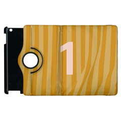 Number 1 Line Vertical Yellow Pink Orange Wave Chevron Apple Ipad 3/4 Flip 360 Case by Mariart