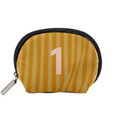Number 1 Line Vertical Yellow Pink Orange Wave Chevron Accessory Pouches (small)  by Mariart
