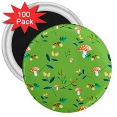 Mushrooms Flower Leaf Tulip 3  Magnets (100 Pack) by Mariart