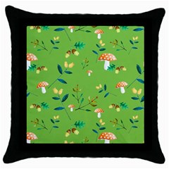 Mushrooms Flower Leaf Tulip Throw Pillow Case (black) by Mariart