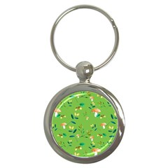 Mushrooms Flower Leaf Tulip Key Chains (round)  by Mariart