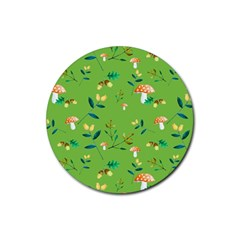 Mushrooms Flower Leaf Tulip Rubber Round Coaster (4 Pack)  by Mariart